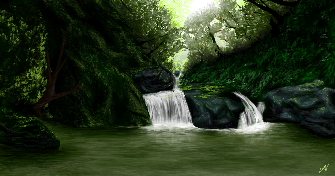 how to draw a forest scene