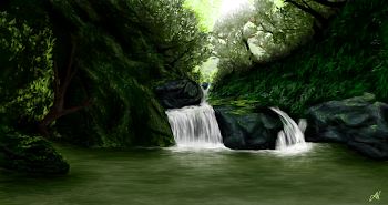 Waterfall tags sketchport for Forest scene drawing