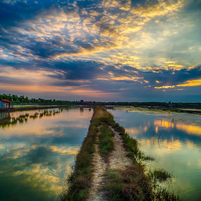 pond by Dugalan Poto - Landscapes Cloud Formations ( reflection, balongan, sunset, indonesia, dugalan, pond, tegal, , path, nature, landscape )