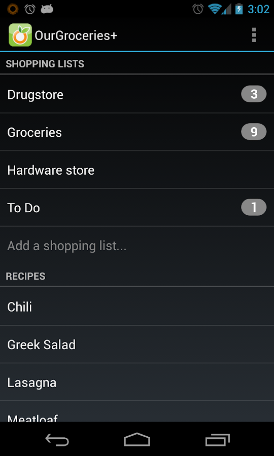 Our Groceries Shopping List - screenshot