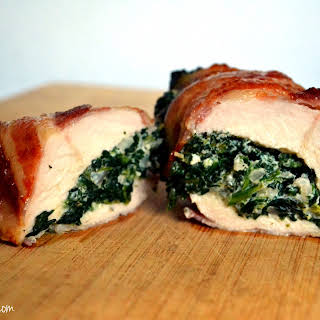 Spinach Stuffed Bacon Wrapped Chicken Breasts.