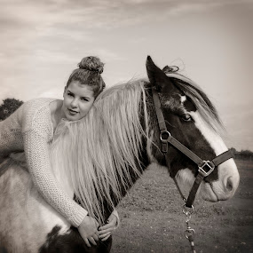 Friends by Alda Sykes - Black & White Portraits & People ( girl, horse mono, black and white, woman, horse )
