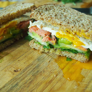Smoked Salmon and Avocado Breakfast Sandwich.