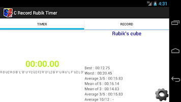 Screenshot of C Record Rubik Timer