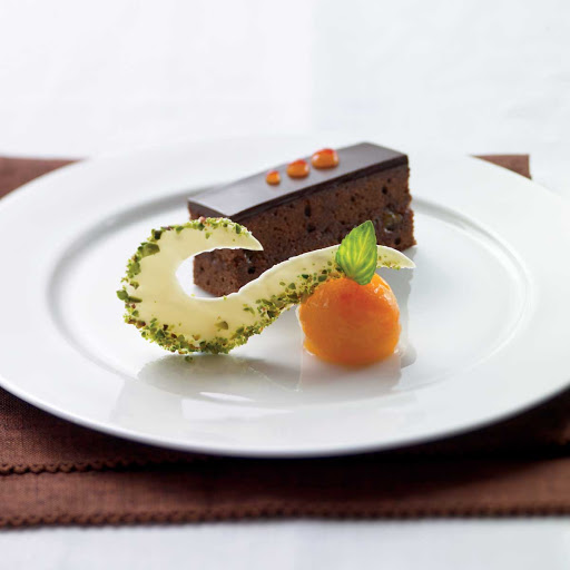 Celebrity Cruises Sacher Torte - A sacher torte prepared in Celebrity Cruises's Main Restaurant.