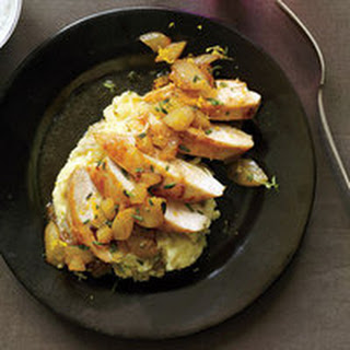 Chicken with Apples, Pears and Camembert Mashed Potatoes.
