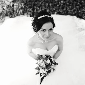 Lovely Bride by Ozge Kesim Yurtsever - Wedding Bride ( black and white, wedding, outdoor, bride, Wedding, Weddings, Marriage )