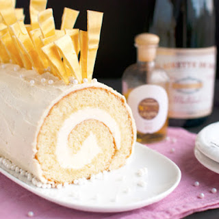 Champagne Cake Roll With White Chocolate (White Chocolate Bûche de Noël)