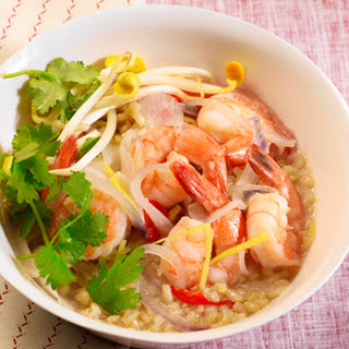 Clay Pot Shrimp with Brown Rice.