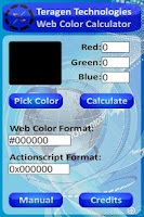 Screenshot of Teragen Web Color Calculator