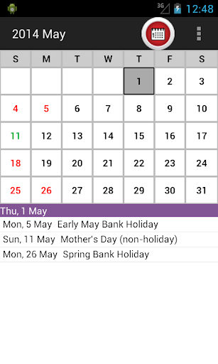 UK Holiday Calendar 2014