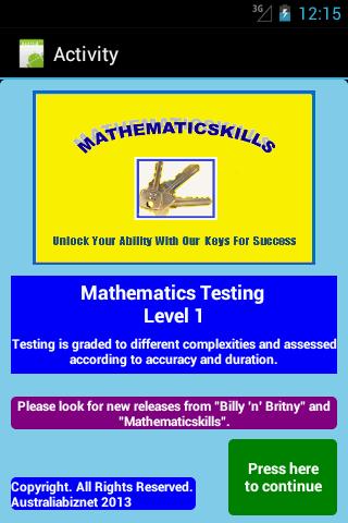 Math Testing Level 1 Free