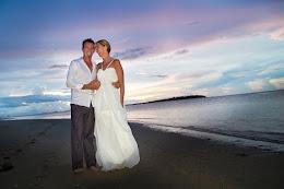 Hilton Fiji newlyweds at sunset