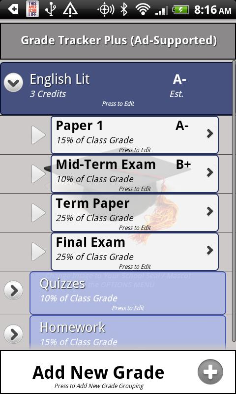 Grade Tracker Plus - screenshot