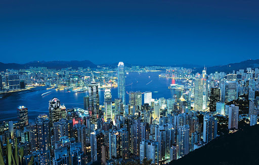 A view of Hong Kong and the harbor from Victoria Peak at night.