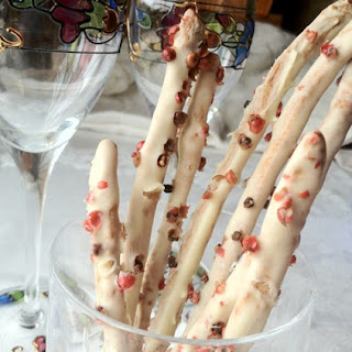 White Chocolate Whole-Wheat Sticks with Pink Peppercorns.