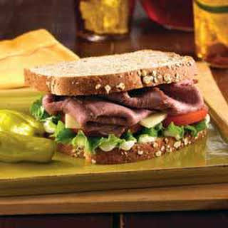 Hearty Roast Beef Sandwich With Provolone.