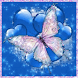 Butterfly and Blue Hearts LWP