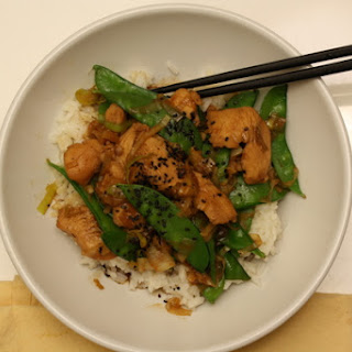 Chicken & Leek Stir Fry with Snowpeas.