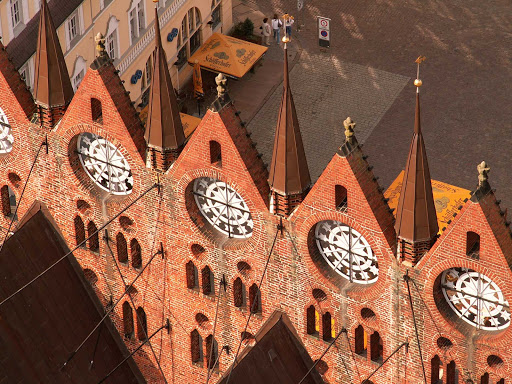Germany-Alter-market-square - View across the Stralsund town hall gables to Alter Market Square, Germany.
