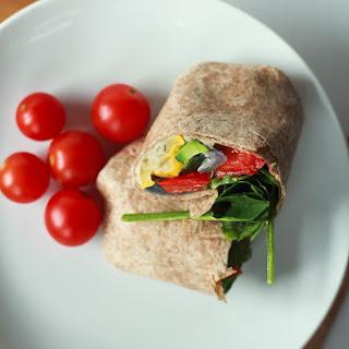 Roasted Vegetable Hummus Wrap.