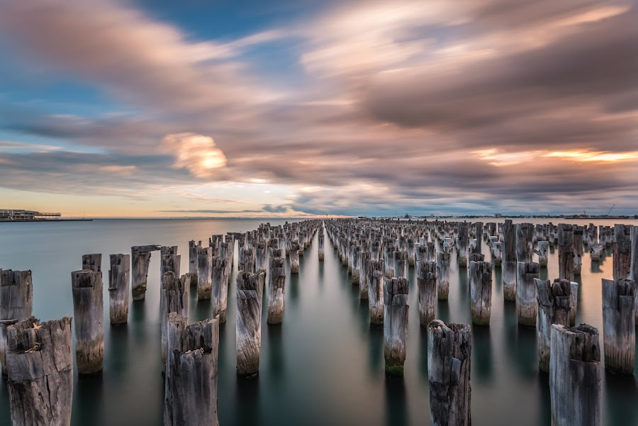Princes Pier, Melbourne by Zubair Aslam - Landscapes Waterscapes ( stormy, water, melbourne, waterscpae, still, seascape, storm, port melbourne, australia, weather, pier, long exposure, princess pier, moving clouds, still water,  )