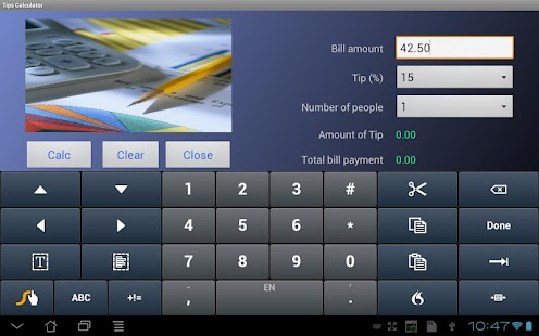 Tip Calculator for Tablets- screenshot thumbnail