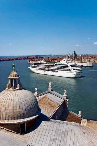Pacific Princess sails through the heart of Venice, Italy, before mooring to give passengers a day to explore the world capital of romance.