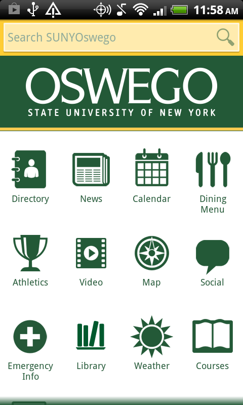 SUNY Oswego Mobile- screenshot