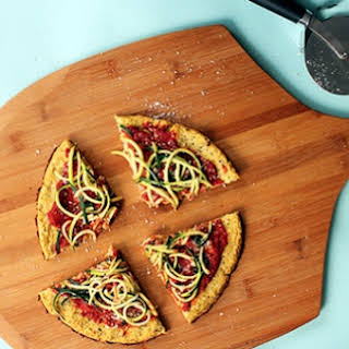 Marinara Cauliflower Pizza with Zucchini Spaghetti.