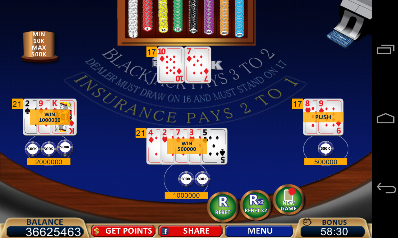 blackjack 21 card game online