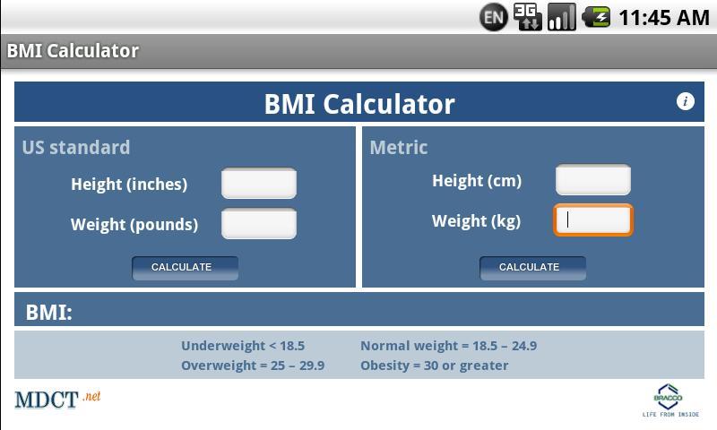MDCT BMI Calculator- screenshot