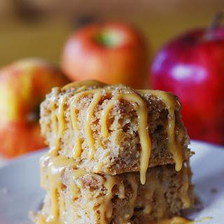 Apple Crumb Coffee Cake With Caramel Sauce.