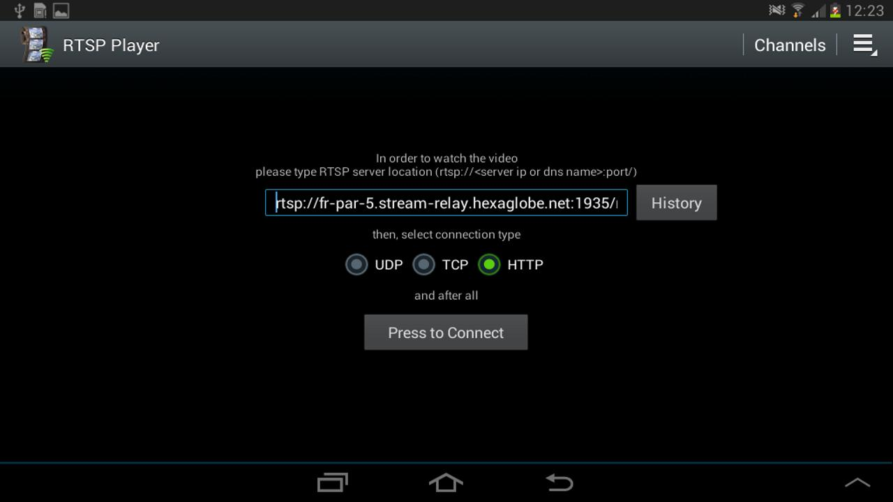 Rtsp web player android