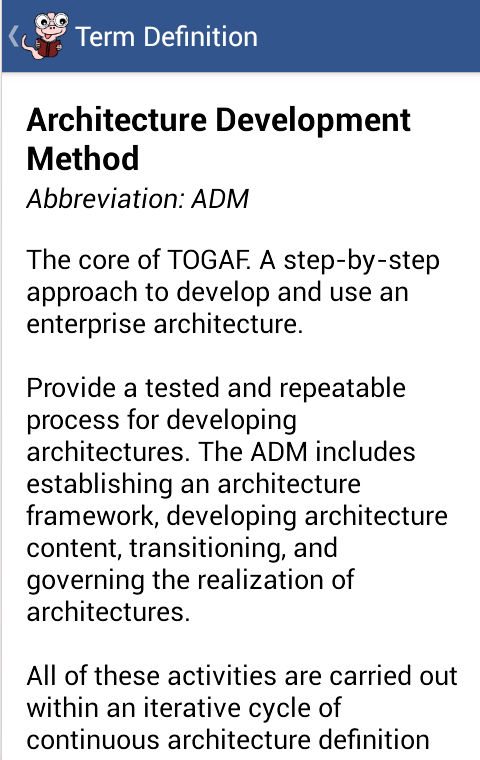 Glossary for TOGAF- screenshot