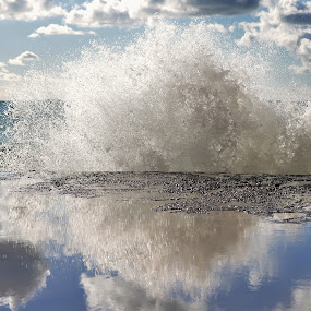 Into the sky by Luigi Alloni - Landscapes Waterscapes ( reflections wave man spray sea camogli )