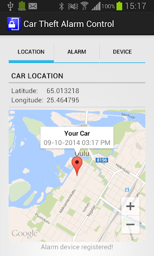 Car Theft Alarm Control