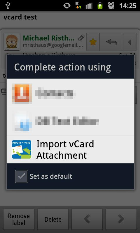 Import vCard Attachment - screenshot