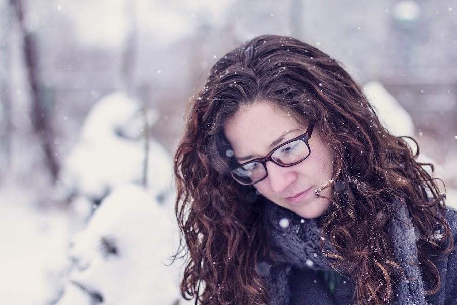 Snowy Thoughts by Simeon VonBerg - People Portraits of Women ( winter, glasses, beautiful, snow, curls, brunette, portrait )