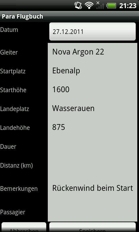 Para Flightlog- screenshot