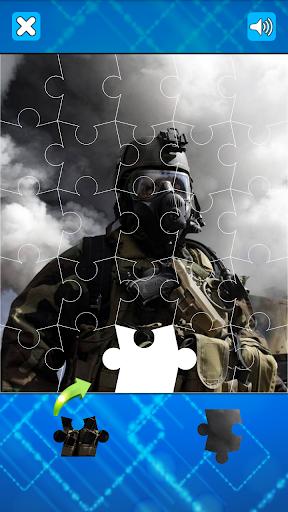 現代士兵和武器拼圖遊戲
