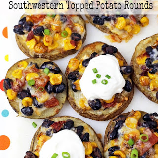 Southwestern Topped Potato Rounds with Black Beans & Corn
