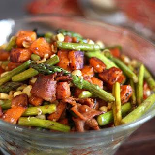 Asparagus, Bacon, Corn and Sweet Potato Skillet