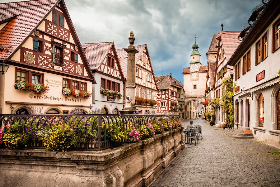 Rothenburg ob der Tauber by Alonzo Wright - City,  Street & Park  Historic Districts ( clouds, europe, vacation, rothenburg ob der tauber, german, romantic, 2011, bell tower, bricks, germany, flowers, cobblestone,  )