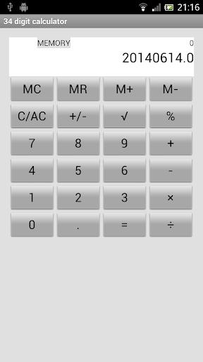34桁電卓 34 digit calculator