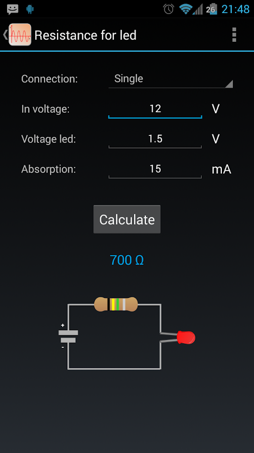 Electrical calculations - screenshot