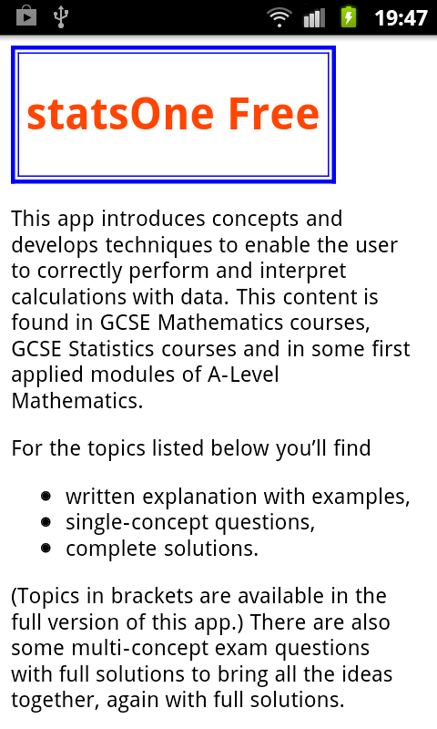 PTC GCSE and A-Level statsOne- screenshot