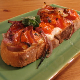 Open-Faced Sandwich with Roasted Tomatoes and Gorgonzola Dolce.