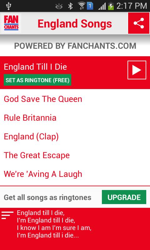 England World Cup Ringtones - screenshot