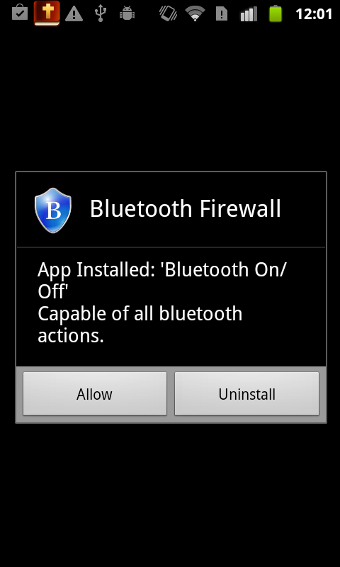 Bluetooth Firewall - screenshot